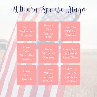 Here's a fun little milso game for all of you this Saturday. ⠀⠀⠀⠀⠀⠀⠀⠀⠀ ⠀⠀⠀⠀⠀⠀⠀⠀⠀ Who else can black out the board? I know I sure can LOL. ⠀⠀⠀⠀⠀⠀⠀⠀⠀ ⠀⠀⠀⠀⠀⠀⠀⠀⠀ #militaryspouse #military #milspouse #milspo #militaryfamily #militarylife #militarymarriage #army #armywife #navy #navywife #airforce #airforcewife #marinecorps #marinecorpswife #armyspouse #navyspouse #airforcespouse #marinecorpspouse #heartandstripes