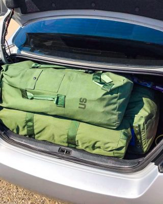 PCS Tip….⠀⠀⠀⠀⠀⠀⠀⠀⠀ ⠀⠀⠀⠀⠀⠀⠀⠀⠀ Utilize the military green duffles to pack! I know it sounds kind of crazy but after an overseas PCS, a PCS back stateside and multiple trips back to the states during our last OCONUS assignment I have learned a few things. It's amazing how much stuff you can fit into these green duffles, especially when you roll your clothes. ⠀⠀⠀⠀⠀⠀⠀⠀⠀ ⠀⠀⠀⠀⠀⠀⠀⠀⠀ This PCS we are taking leave in route to visit family but instead of flying we decided a family road trip was in order. We shipped our SUV from the VPC early so we could only pack what would fit into our sedan. Needless to say, I stressed out about it because I wasn't sure we could fit everything we needed. I went to clothing and sales and picked up the new style of green duffles. These have a zipper down the whole side of the bag. It's very handy so we don't have to worry about what we need being on the bottom. Each of our family members have one of those duffles and then I have one regular (old style) duffle which has shoes, bathroom stuff and any miscellaneous items. ⠀⠀⠀⠀⠀⠀⠀⠀⠀ ⠀⠀⠀⠀⠀⠀⠀⠀⠀ All five of these duffles fit into the trunk of our Altima and I packed enough clothes for 20-30 days for each of us plus my husband has his uniform and boots packed in his bag. ⠀⠀⠀⠀⠀⠀⠀⠀⠀ ⠀⠀⠀⠀⠀⠀⠀⠀⠀ These bags have been a life saver for us this PCS and I know they can be helpful for you as well, especially if you are limited on space.
